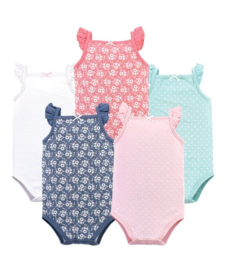 5c641c380 love this product Pink & Aqua Polka Dot & Floral Angel-Sleeve Bodysuit - Set  of Five
