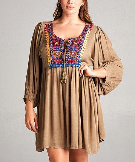 a7cf4b4bb69 Simply Boho LA Mocha & Pink Embroidered Tunic Dress - Women & Plus ...
