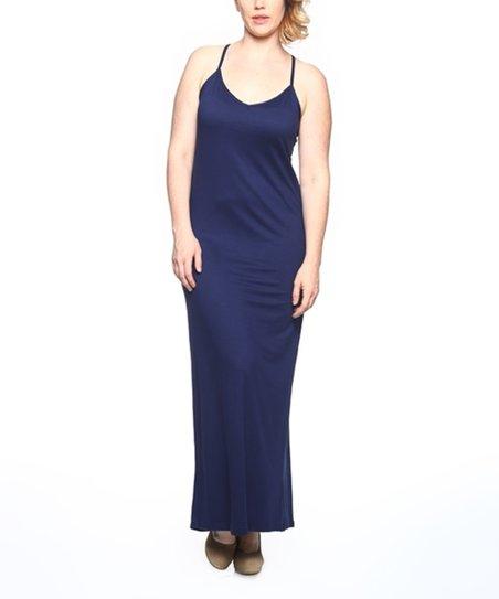 SBS Fashion Navy Plus Size Maxi Dress - Plus