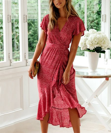 dcdff457674 love this product Red Floral Flutter-Sleeve Wrap Dress - Women