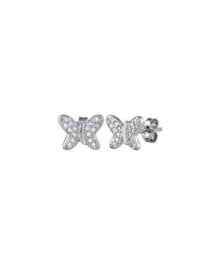 Sterling Silver Pavé  Set Cubic Zirconia Butterfly Stud Earrings Jewellery