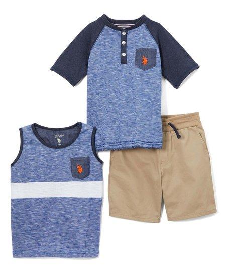 c8a9e1d30 U.S. Polo Assn. Blue Heather Henley Top, Stripe Tank & Khaki Shorts ...
