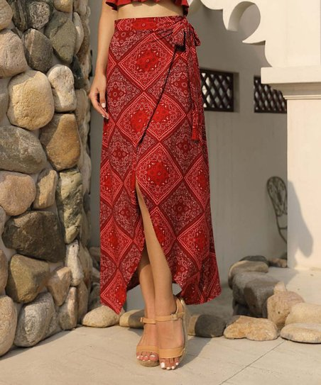 d7162138e0 love this product Red Print Plaid Wrap Skirt - Women