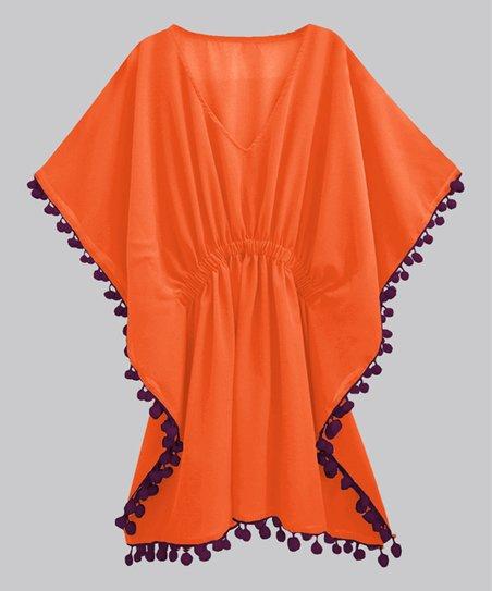 3403bd163217ac love this product Orange & Wine Voile Pom-Pom Kaftan Cover-Up - Women & Plus
