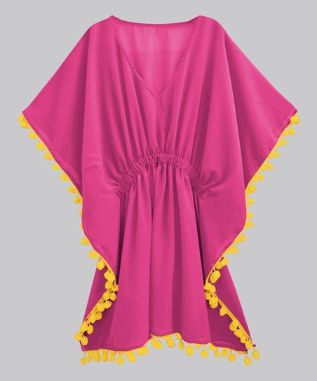 c23bba598c2dcc love this product Pink & Yellow Voile Pom-Pom Kaftan Cover-Up - Women & Plus