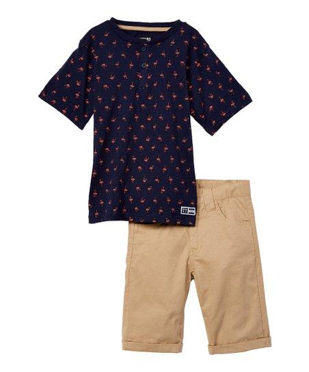 41fedb3a love this product Navy Flamingo Henley Tee & Khaki Cargo Shorts - Infant,  Toddler & Boys