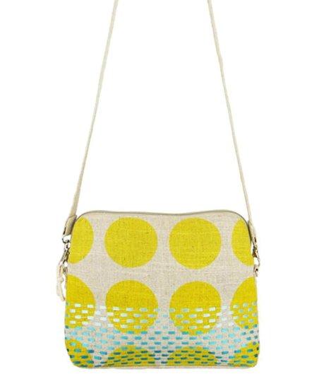 44b6bfae994 Global Girlfriend Yellow Polka Dot Bright Spot Linen Messenger Bag ...