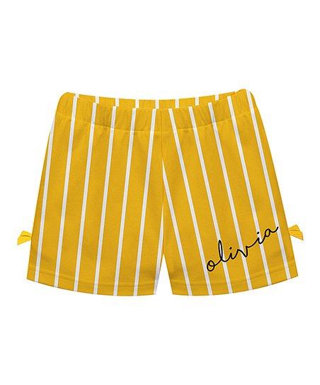 Monday's Child White & Yellow Stripe Personalized Bow Shorts - Infant,  Toddler & Girls