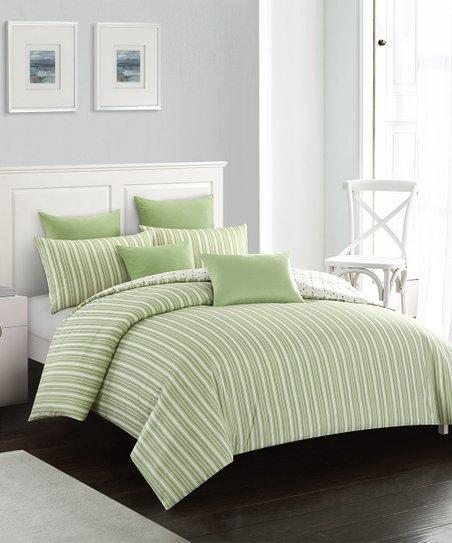 CozzyDream Lime Green & White Stripe Duvet Cover Set