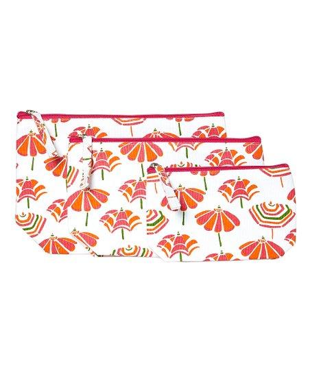 Rockflowerpaper Beach Umbrellas Cosmetic Bag Set Of 3