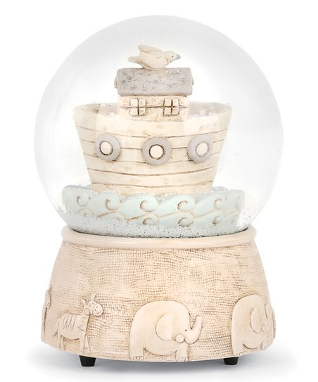 DEMDACO Beige & Blue Noah's Ark Musical Snow Globe