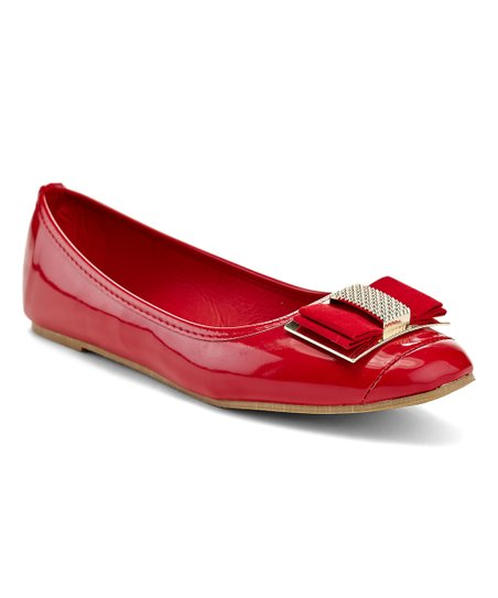 8b7e241eb6 Lady Godiva Red Bow-Accent Nicoletta Ballet Flat - Women | Zulily