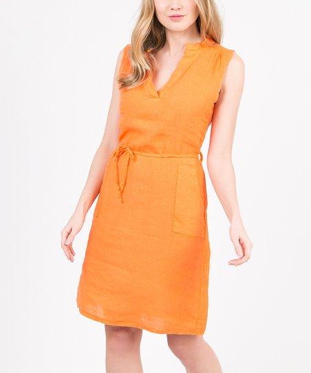 e2c4342f29 Pearly Blue Orange Pocket Carola Linen Notch Neck Dress - Women | Zulily