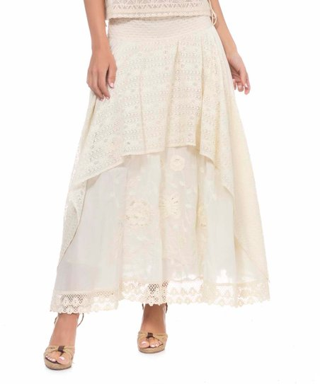 950d55a45 love this product Off-White Embroidered Lace-Hem Tiered Maxi Skirt - Women