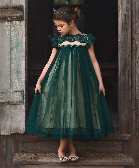 Emerald Lace Adriana Empire Waist Dress   Toddler & Girls by Trish Scully Child