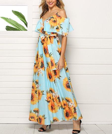 6e4ec6a168 love this product Baby Blue Floral Off-Shoulder Side-Slit Maxi Dress -  Women & Plus