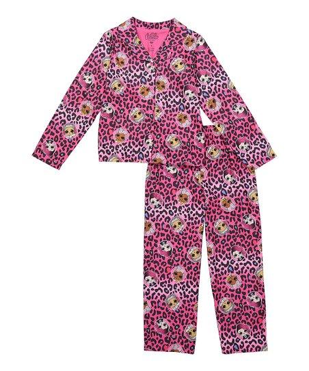 L O L  Surprise! Pink & Black Leopard Pajama Set - Girls