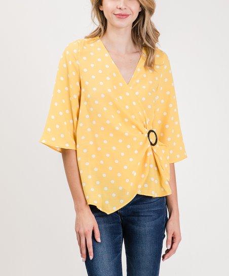 6a5e162fe55a love this product Yellow & White Polka Dot Three-Quarter Sleeve Wrap Top -  Women & Plus