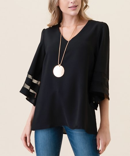 f5936152393f22 Hippie Chic Black Mesh-Contrast Cape-Sleeve Top - Women | Zulily