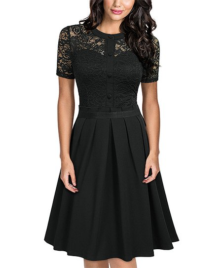 7a71bb4c love this product Black Lace Button-Front Short-Sleeve Dress - Women