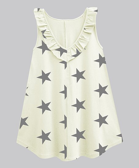 aa2ee45a950b1d love this product Off-White & Charcoal Gray Star Ruffle-Neck Sleeveless  Tunic - Women & Plus