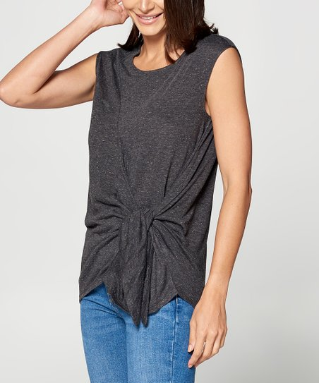 1a8bb06b9ceb love this product Dark Charcoal Knot-Front Short-Sleeve Tee - Women & Plus