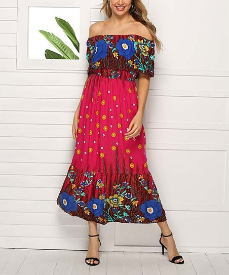 f9dea5c2b8 love this product Rose Red & Blue Floral Ruffle Off-Shoulder Maxi Dress -  Women & Plus
