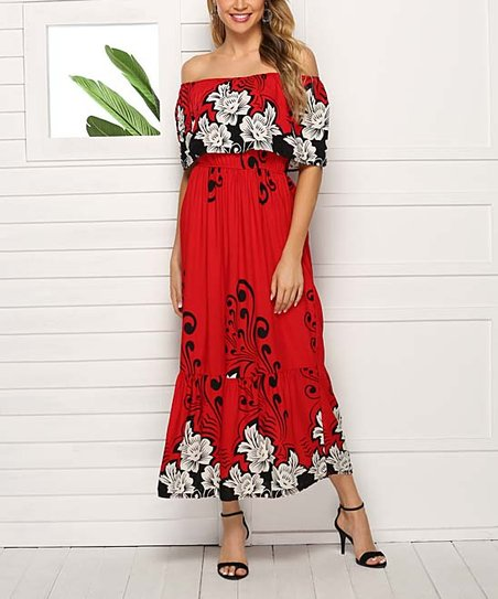 75cf738c3d love this product Red Floral Ruffle Off-Shoulder Maxi Dress - Women & Plus