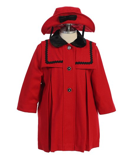 fashion styles reliable reputation official price Angels Garment Red Wool-Blend Coat & Bow-Accent Bucket Hat - Toddler
