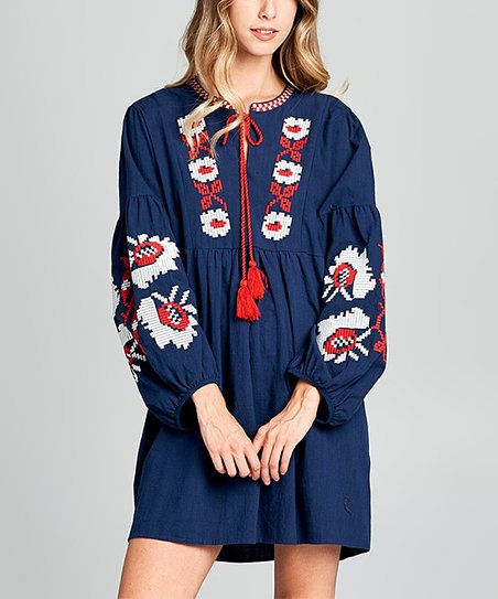 d5430caa7db3 Simply Boho LA Blue & Red Floral Embroidered Tassel Puff-Sleeve ...