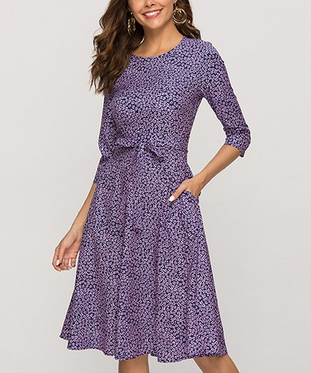 f265256540011 love this product Purple Floral Side-Pocket Tie-Waist Fit & Flare Dress -  Women