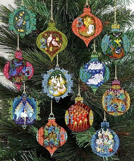 Twelve Days Of Christmas Ornaments.G Debrekht 12 Days Of Christmas Wood Ornament Set