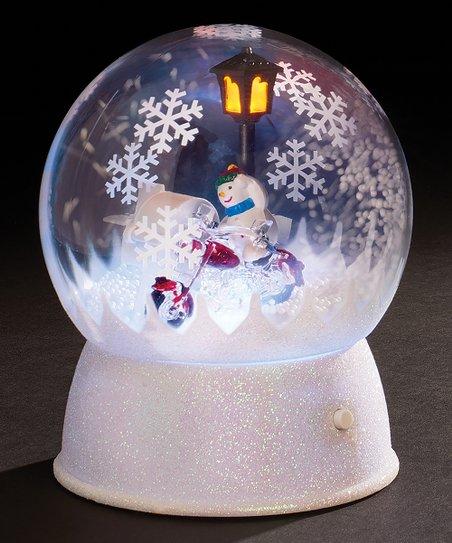 Roman White Led Snowman Snow Globe Decor