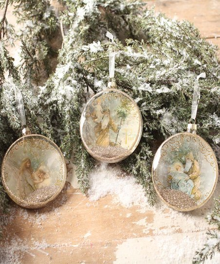 Bethany Lowe Christmas Ornaments.Bethany Lowe Designs Peaceful Christmas Glass Disc Ornament Set Of Three