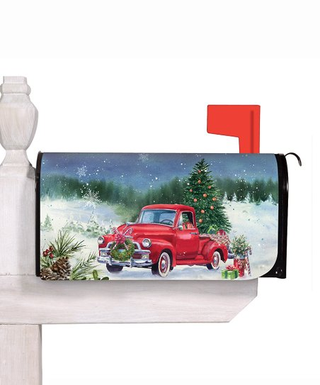 Christmas In Evergreen Truck.Evergreen Blue Red Vintage Truck Christmas Tree Mailbox Cover