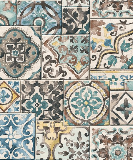 Brewster Home Fashions Estrada Blue Marrakesh Tiles