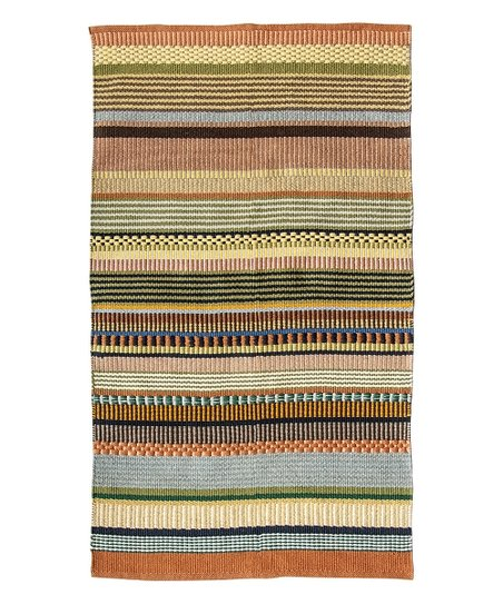 Brown & Green Stripe Rug | Zulily