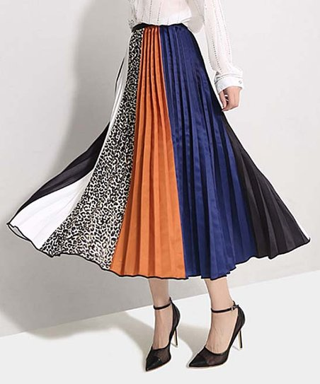c927cecdd Charlie Charlie Charlotte Orange & Blue Color-Block Pleated Midi ...