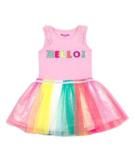 ba27f2aa35 Nannette Kids Light Pink Glitter Hello Stripe Tutu Sleeveless Dress ...