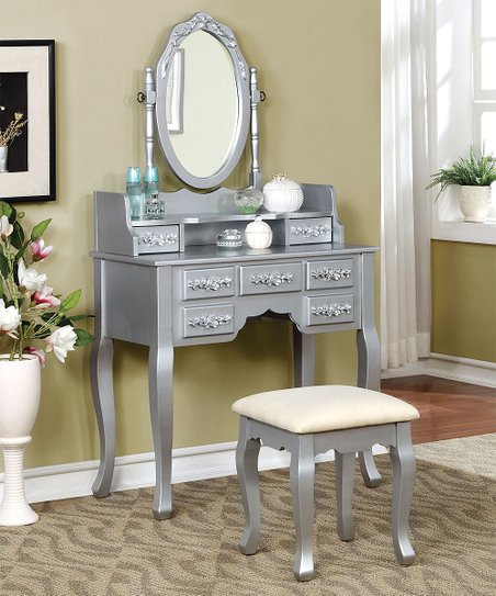 Amazing Furniture Of America Silvertone Claire Transitional Vanity Stool Ocoug Best Dining Table And Chair Ideas Images Ocougorg