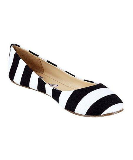 White Stripe Ballet Flat