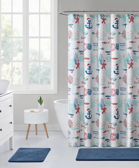 Surprising Vcny Home White Blue Christmas Is Better At The Beach Shower Curtain Download Free Architecture Designs Saprecsunscenecom