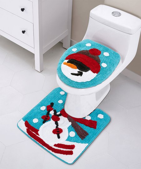 Stupendous Vcny Home Blue Red White Snowman Holiday Bath Rug Set Cjindustries Chair Design For Home Cjindustriesco