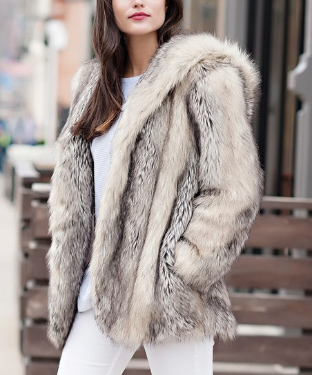 Donna Salyers Fabulous-Faux Furs Gray Fox Faux Fur Hooded Coat - Women |  Best Price and Reviews | Zulily