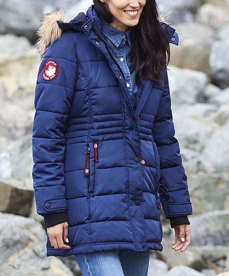 Canada Weather Gear Navy Faux Fur Long Puffer Coat Plus