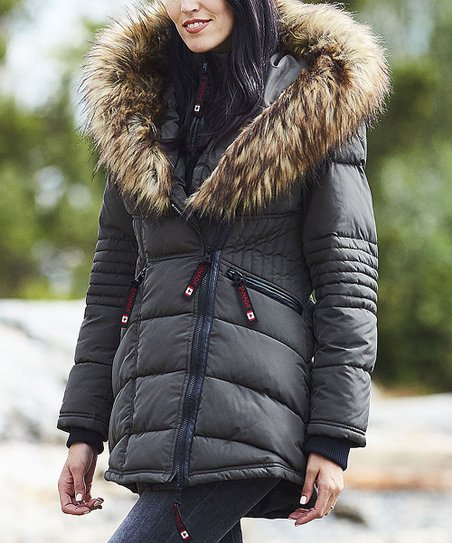 Canada Weather Gear Olive Oversize Faux Fur Hood Long Puffer Jacket Women & Plus
