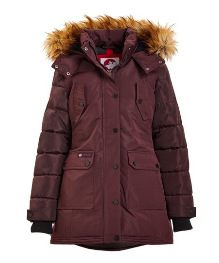 Canada Weather Gear Cranberry Faux Fur Quilted Sleeve Puffer Jacket Women & Plus