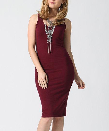 ec078c49c65c love this product Dark Burgundy Sleeveless Midi Dress - Juniors