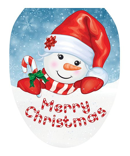 Brilliant Toilet Tattoos Blue Red Merry Christmas Candy Cane Snowman Toilet Seat Decal Cjindustries Chair Design For Home Cjindustriesco