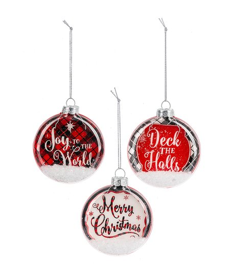 Ganz Red White Checked The Halls Merry Christmas Ornaments Set Of Three